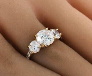 Three-stone Round Diamond Engagement Ring 18k Yellow Gold over 925