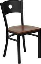 NEW METAL DESIGNER RESTAURANT CHAIRS W CHERRY WOOD SEAT** LOT OF 20 CHAIRS**