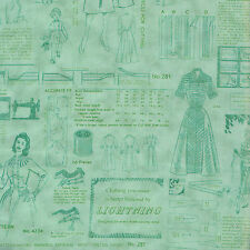 Half Metre quilting Fabric ~ Sew Retro Patterns ~ Tone on Tone Sage Green