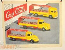Öl-Bild auf Leinwand 3 Coca Cola-Wagen Illustration von WIKING-Modellen 59x79 cm