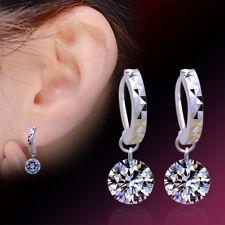 New 925 Stirling Silver Round Crystal Drop Dangle Elegant Earrings Women Wedding