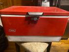 Vintage Red Metal Coleman Cooler Plastic Handles Good condition