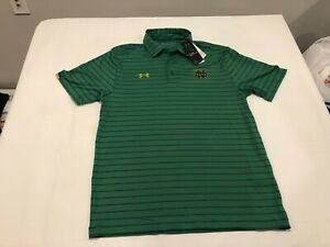 NWT $74.99 Under Armour Notre Dame Mens Sideline Stripe SS Polo Green Size LARGE