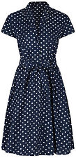 Ladies 1940s WW2 Retro Vintage Blue Polka Dot Belted A-Line Shirt Dress NEW 8-28
