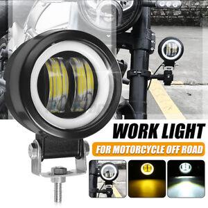 3'' 12V 24V Round LED Angel Eye Amber Work Light Waterproof For Motorcycle Truck