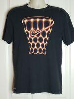 Nike Dri-Fit Basketball Net Swoosh Black & Orange Graphic T-Shirt M