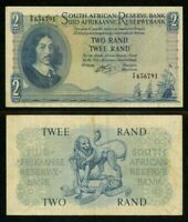 Currency 1962 South African Reserve Bank Two Rands Banknote Van Riebeeck P# 104b