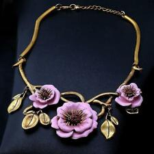 STATEMENT NECKLACE - GOLD PLATED WITH PINK ENAMEL FLOWERS - FREE UK P&P.....T124