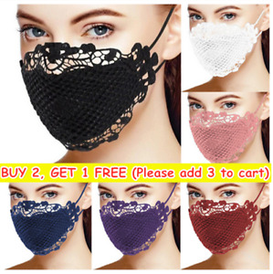 Washable Reusable Face Mask Covering Lace Effect Sexy Ladies Black Blue Red Pink