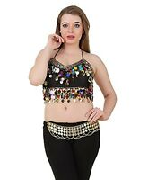 Mardi Gras Halter Belly Dance Costume Bra Top Black Rainbow Gold Coins