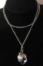 COLLANA tono argento catena in metallo con grazioso a forma di cuore ciondoli e perline