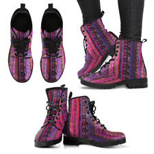 Pink Boho Stripe Handcrafted Women's Vegan-Friendly Leather Boots