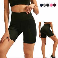 Womens Sports Shorts Yoga Gym Running Bottoms High Waist Mesh Pockets Cool Dry
