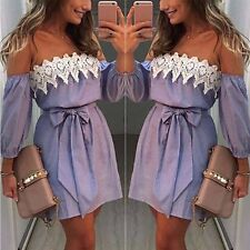 New Summer Women Lace Off Shoulder Party Evening Cocktail Beach Short Mini Dress