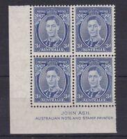 APD175) Australia 1938 3d Blue Die II Thin paper Ash Imprint Block ACSC 194Aza