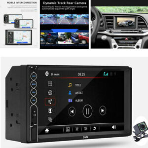"""Double 2 DIN 7"""" Touch Screen Car Stereo Radio Bluetooth AUX Mirror Link Camera"""
