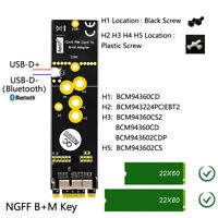 12+6Pin Wireless WiFi Bluetooth Card to NGFF M.2 Key Adapter for Mac OS