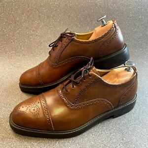 Barbour Leather Mens Brogue Formal Shoes, Tan Leather, Size UK 8, Lace Fastening
