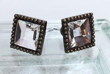 Elegant Cut Crystal Glass Mirror Center Antique Bronze Square Knob Cabinet Dress