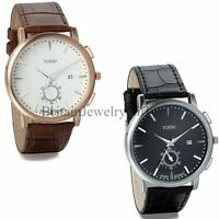 Men's Fashion Sport Date Analog Quartz Wrist Watch With Black Brown Leather Band