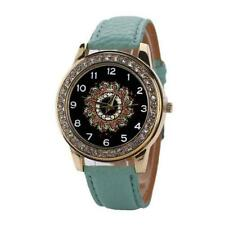 Ladies Fashion Gold Quartz Crystal Black Patterned Faced Green Band Wrist Watch.