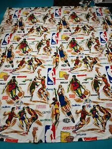 Vintage 70s NBA Flat Sheet Twin Size Lakers Bulls Celtics Sonics Bullets Braves