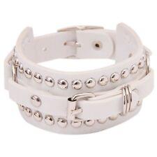 Fashion Punk Style Rivets Buckle Belt Chain Charm Leather Bracelets Gifts Pop White