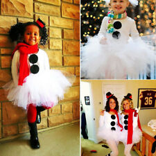 UK Stock Christmas Toddler Kids Girl Snowman Tops Tulle Tutu Party Dress Outfits