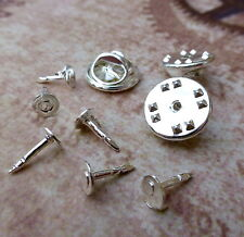 20 Small Tie Tacks Butterfly pinch back Pins Clutch Lapel Scatter Pin Silver