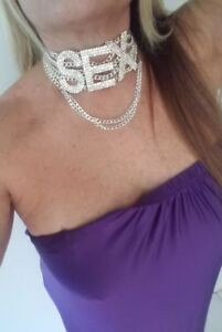 Collar necklace Sex rhinestone  adjustable necklace rhinestones sparkle chains