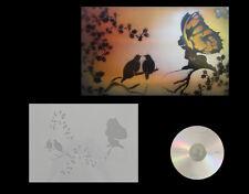 Step by Step Stencil AEROGRAFO/Stencil 0574 fata con uccelli & CD CD