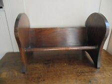 Small vintage solid oak book trough, rest, shelf, unusual shaped ends