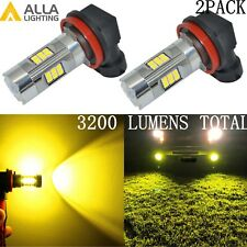 Alla Lighting 3200lm 3000K 27-LED H11 Fog Light Driving Bulbs Lamp Golden Yellow