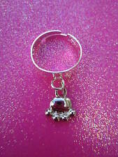 Adjustable Paw Charm Dangle Ring
