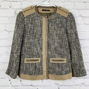Elie Tahari  Women's Button Up Jacket Size 0 Brown/Black