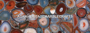 Exclusive Marble Center Coffee Dining Table Red Agate Precious Stone Decor H5592