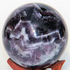 Chevron Amethyst Quartz Crystal Mineral Sphere Orb Ball w/ Stand - 57mm