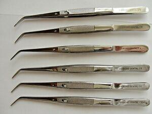 6 tweezers locking dental tweezers stainless steel top quality GB best dental