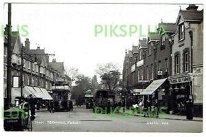 OLD POSTCARD PURLEY TRAM TERMINUS SURREY C.H PRICE REAL PHOTO VINTAGE 1910-20