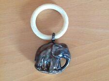 Alte Babyrassel, Greifring Elefant mit Punzen 835 Silber