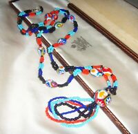"ART DECO VENETIAN MURANO MILLEFIORI GLASS BEAD 33"" LONG VINTAGE OPERA NECKLACE"