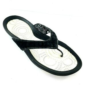 SPEEDO Thong Sandal Women Sz 9 Black Pool Beach Comfortable Flip Flop Shoe GUC