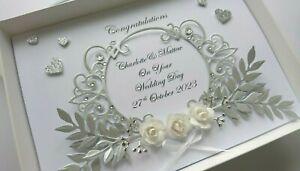 Handmade Personalised Luxury Wedding Day Anniversary Engagement Card  + GIFT BOX