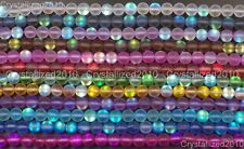 Matte Frosted Top Crystal Glass Round Inside AB Beads 6mm 8mm 10mm 12mm 15.5""