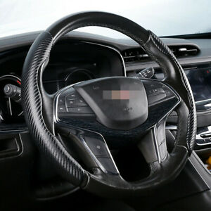 38cm Car SUV Steering Wheel Cover Booster Grain Leather Black Carbon Fiber Look