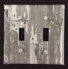 White Planks Light Switch Cover Plate Aged Wooden Planks Vintage Looking Decor