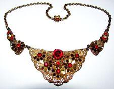 GORGEOUS! ANTIQUE ART DECO RUBY RED PASTE GOLD GILT FILIGREE FLORAL NECKLACE