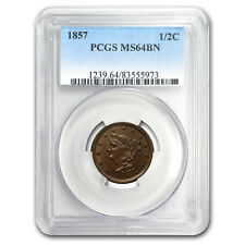 1857 Half Cent Ms-64 Pcgs (Brown) - Sku#149531