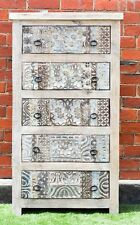 Hand Carved Shabby Chic Distressed French Country Tall Boy Dresser Drawer Unit