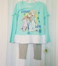 Disney Girls Frozen 2 Piece Tulle Top & Legging Set Outfit Clothes Sz 4